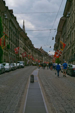 the beautiful architecture and design of the buildings and streets of the old town in bern, switzerland Stock fotó