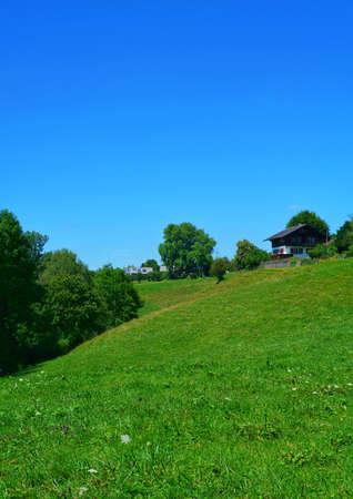 beautiful landscape of the tranquil green fields in switzerland Stock fotó