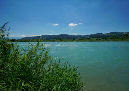 beautiful landscape view of the green nature and the aare river in switzerland
