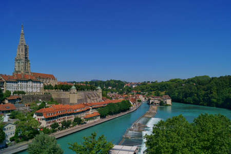 beautiful view of the Aare river in the old town city center in Bern, Switzerland Stock fotó - 158223601
