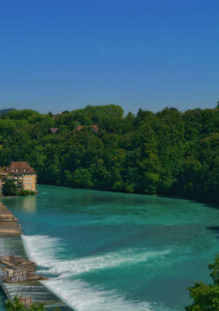 beautiful view of the Aare river in the old town city center in Bern, Switzerland