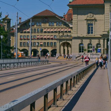 the beautiful view of the city center from the Kornhausbrücke bridge in bern, switzerland