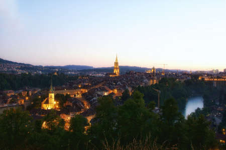 beautiful sunset. Landscape view from the Rosengarten of the city center in the old town of Bern, Switzerland