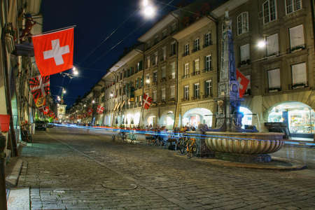 The Beautiful streets of the old town of Bern at night Stock fotó
