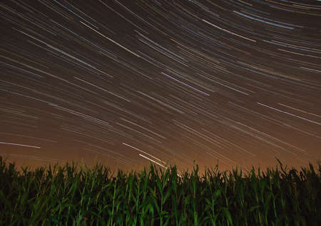 Beautiful long exposure. Star trails time-lapse of the summer nights, at the Bahnstadt in Heidelberg, Germany Stock fotó