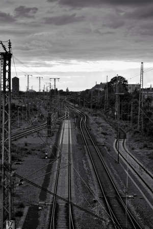 Beautiful landscape view of the train tracks. at the Bahnstadt in Heidelberg, Germany