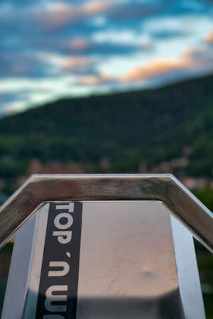 telescope at the Theodor Heuss bridge in Heidelberg, germany
