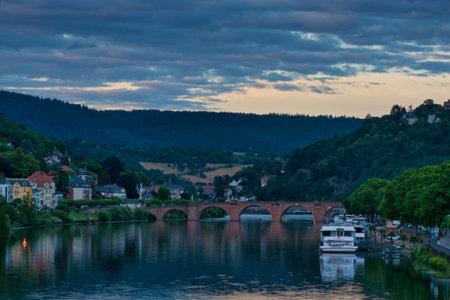 view of the Neckar river and the old bridge ( Altebrücke ) in Heidelberg, germany Stock fotó