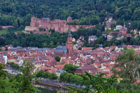 the beautiful scenic view of the old town city center from the Philosophenweg in Heidelberg, Germany