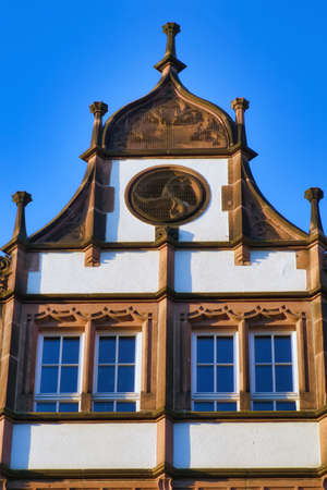 the beautiful architecture of the buildings and houses at the old town city center in Heidelberg, Germany