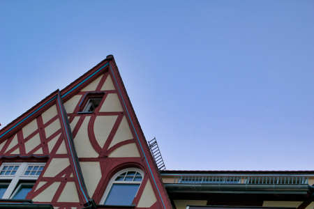 Beautiful architecture of the old houses and buildings at the streets of old town city center in Heidelberg, Germany Stock fotó