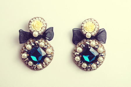 jewels: handmade earrings with jewels. Vintage style.