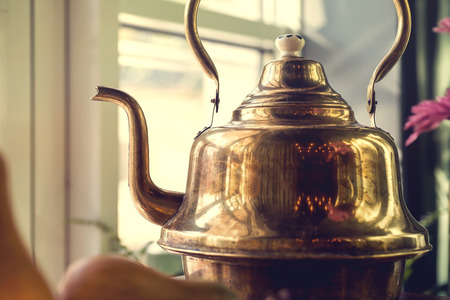 houseware: old brass samovar. Russia style