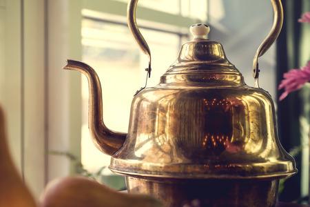 samovar: old brass samovar. Russia style
