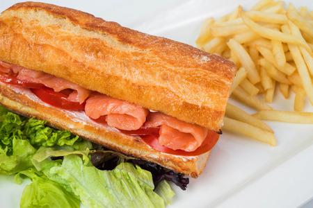 sanwich: The big sanwich with salmon. Stock Photo