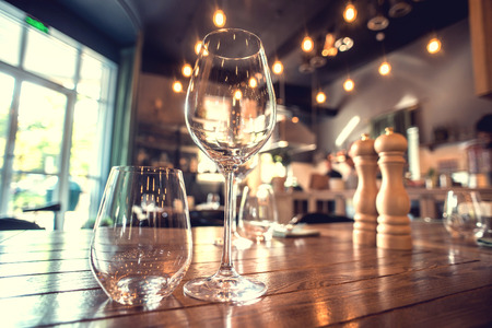 fine dining: Close up picture of empty glasses in restaurant.