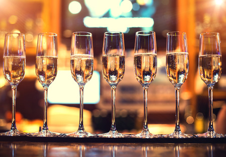 champagne flutes: champagne flutes in holiday in the restaurant