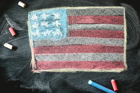 union flag: black chalkboard in classroom with flag of us.