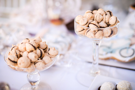 goodies: Colorful Wedding Candy Table with different goodies on display
