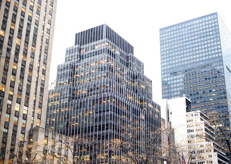 Rascacielos ascendente hasta el cielo de Manhattan.