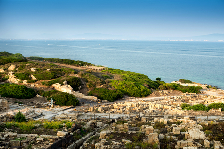 ancient city of Tharros founded by the Phoenicians in the eighth sec.ac. town of Cabras, Oristano, Sardinia Stock Photo