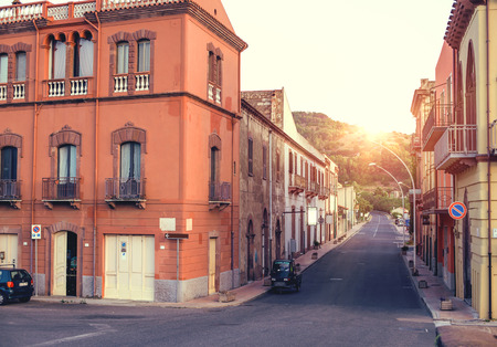 riverfront: Beautuful sunset in the little town in Italy