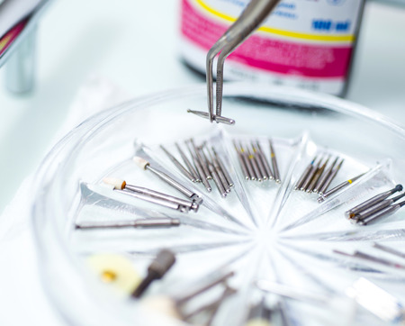 test probe: modern machine tools of various endodontic marking. Stock Photo