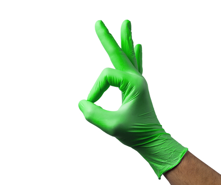 latex glove: Caucasian male right hand in blue latex glove isolated over white background.