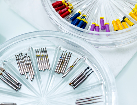 gripper: modern machine tools of various endodontic marking. Stock Photo