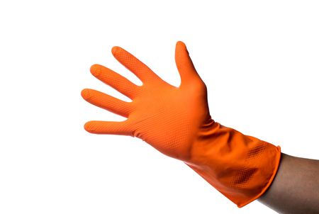 rubber glove: One hand in rubber glove isolated on white background.