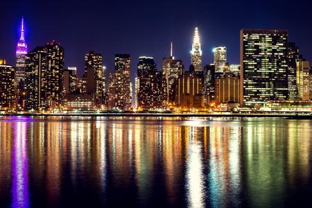 Night panorama of midtown New York City. Stock Photo