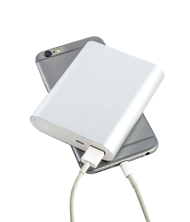 smart phone charger with power bank on white background