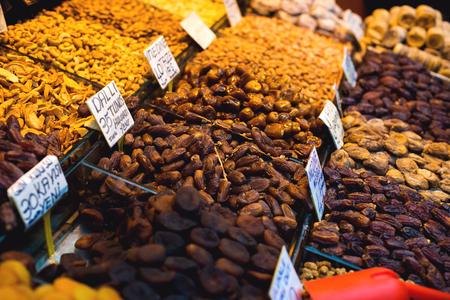 The famous oriental market. Typical dates in Istambul, Turkey Standard-Bild