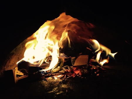 fire pit: This photo is a fire within a clay pizza oven