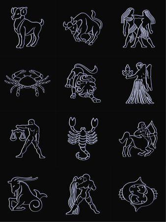zodiac signs black background
