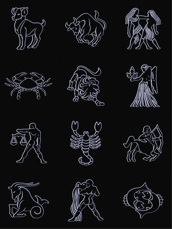 zodiac signs black background