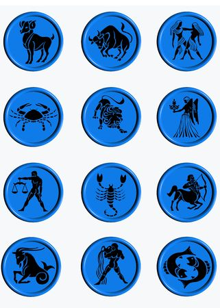 Set buttons signs of the zodiac