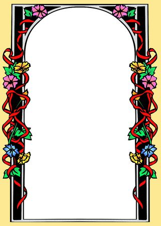 colourful floral frame with a white background Stock Photo