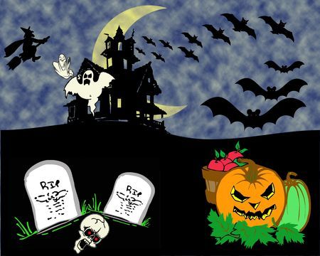 illustration halloween bats with clouds and the moon Stock Photo