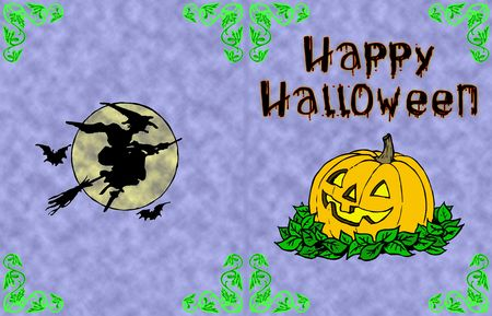 Halloween card with pumpkin moon and flying witch Stock Photo