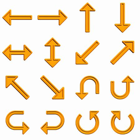 illustration 3d orange arrows for Web graphics