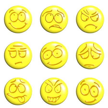 set of emoticons 3d on a white background Stock Photo