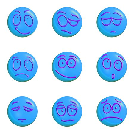 set of blue emoticons 3d on a white background