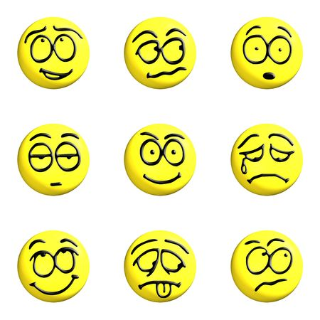 enrage: set of yellow emoticons 3d on a white background Stock Photo