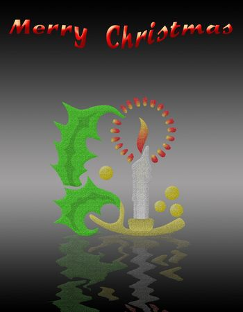 christmas card with Christmas symbols and merry christmas