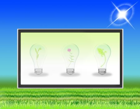 lawn with LCD TV that transmits symbols of ecology Stock Photo