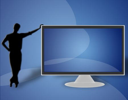 man resting on the left side of a large LCD TV