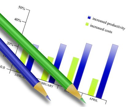 Illustration of bar graph with crayons Stock Photo
