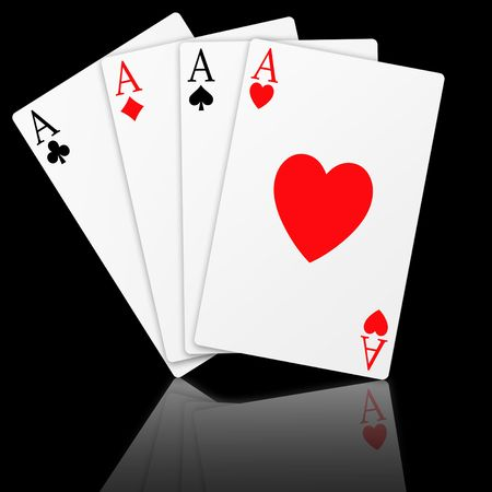 Illustration of the four aces signs poker Stock Photo