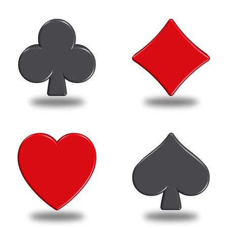 king and queen of hearts: illustration icons or buttons of the four signs poker Stock Photo